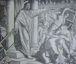 Jesus driver ut månglarna