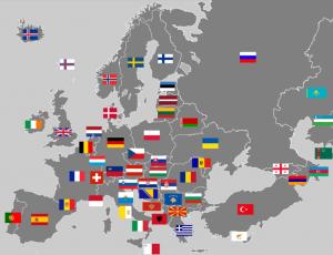 Eurooppa lippuineen
